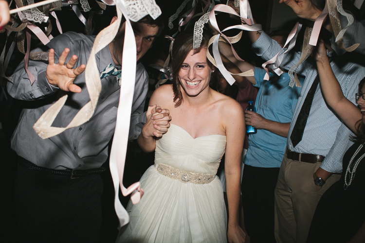 Bride and groom's exit with streamers