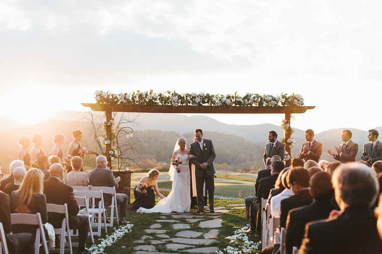 Beautiful sunset at wedding ceremony