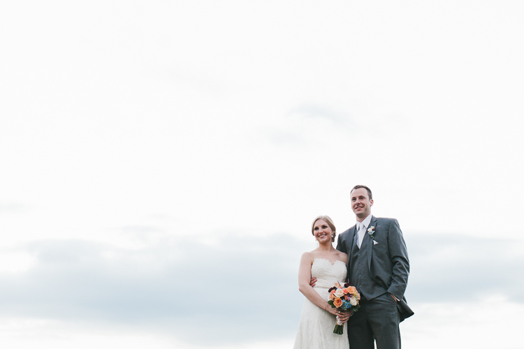 Bride and groom with negative space