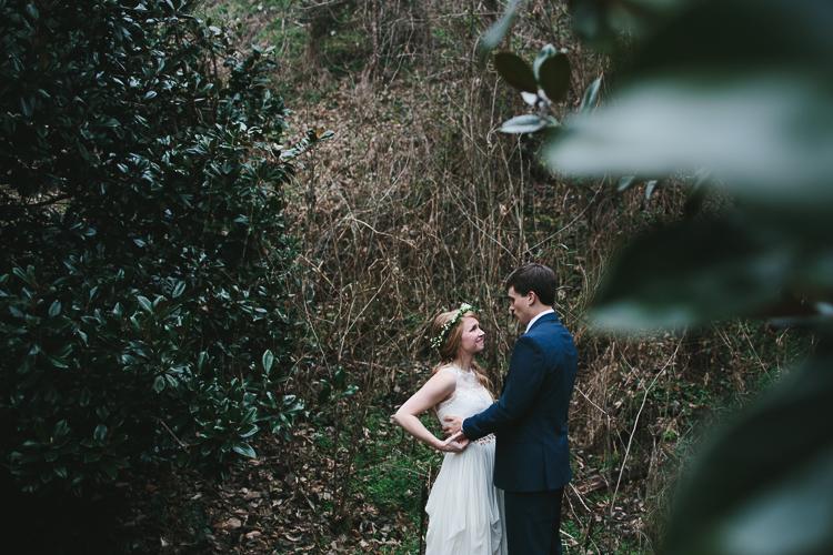 bride looking up at her groom