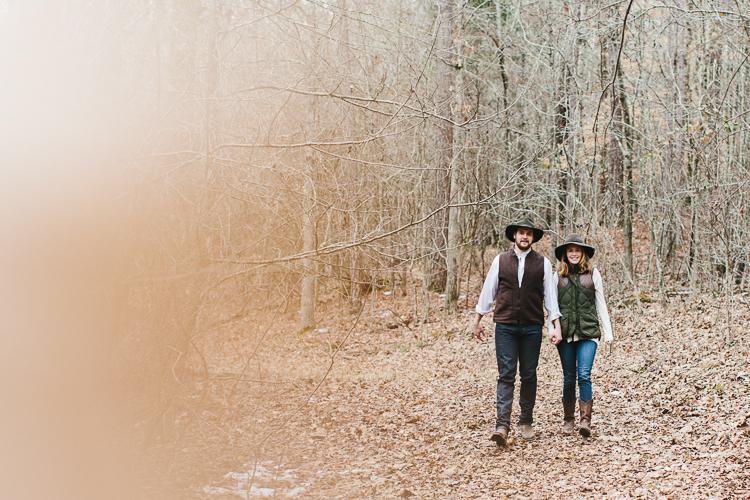 rustic southern engagement portrait