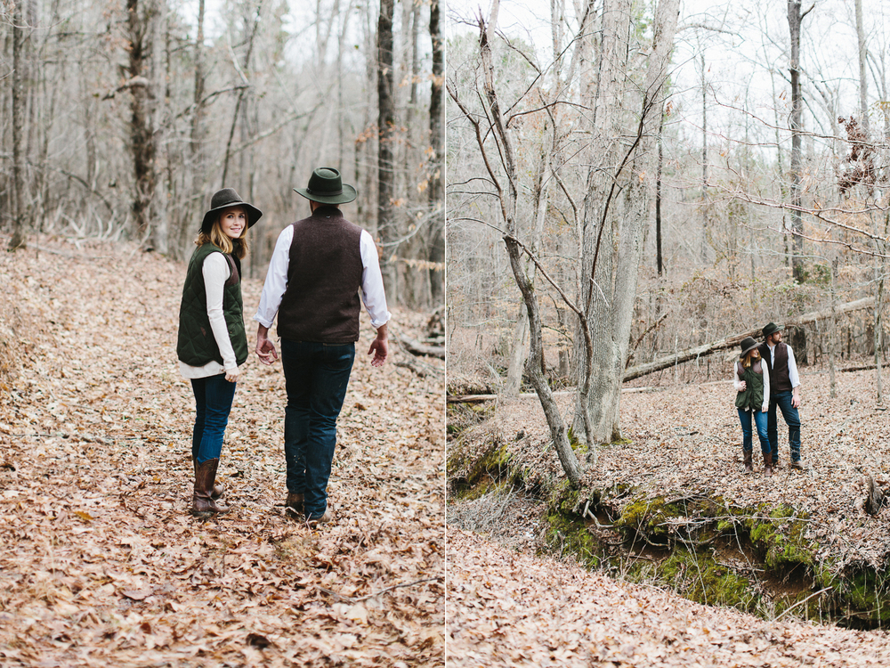 rustic southern outdoors engagement shoot