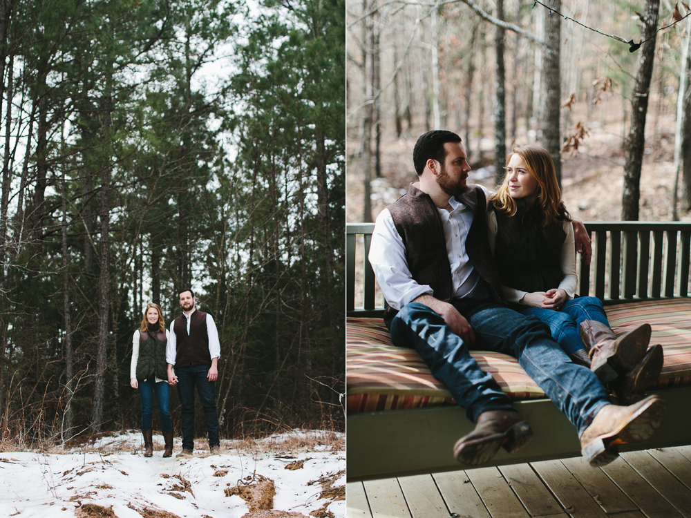 rustic winter engagement shoot