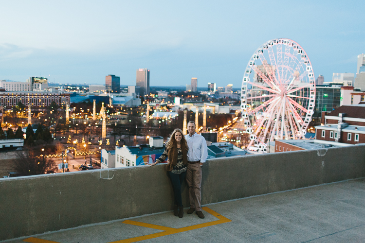 Downtown Atlanta Engagement Shoot with Skyview of Atlanta Ferris Wheel