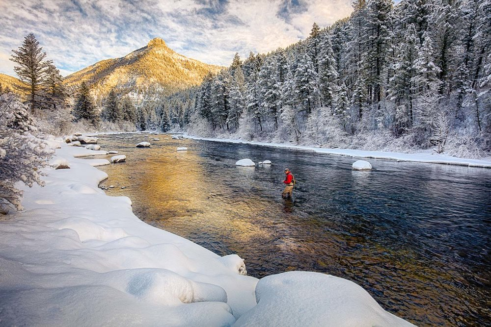 Gallatin River Flyfishing-Winter in Montana