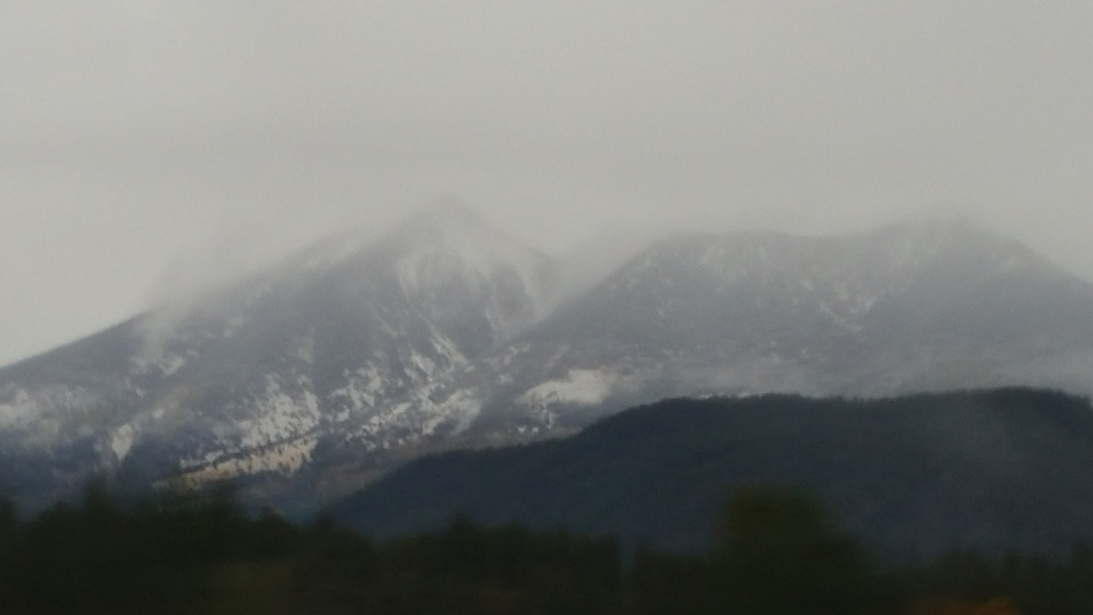 This was a shot out the window on our way from Sedona to Page, AZ. Yes. Snow.