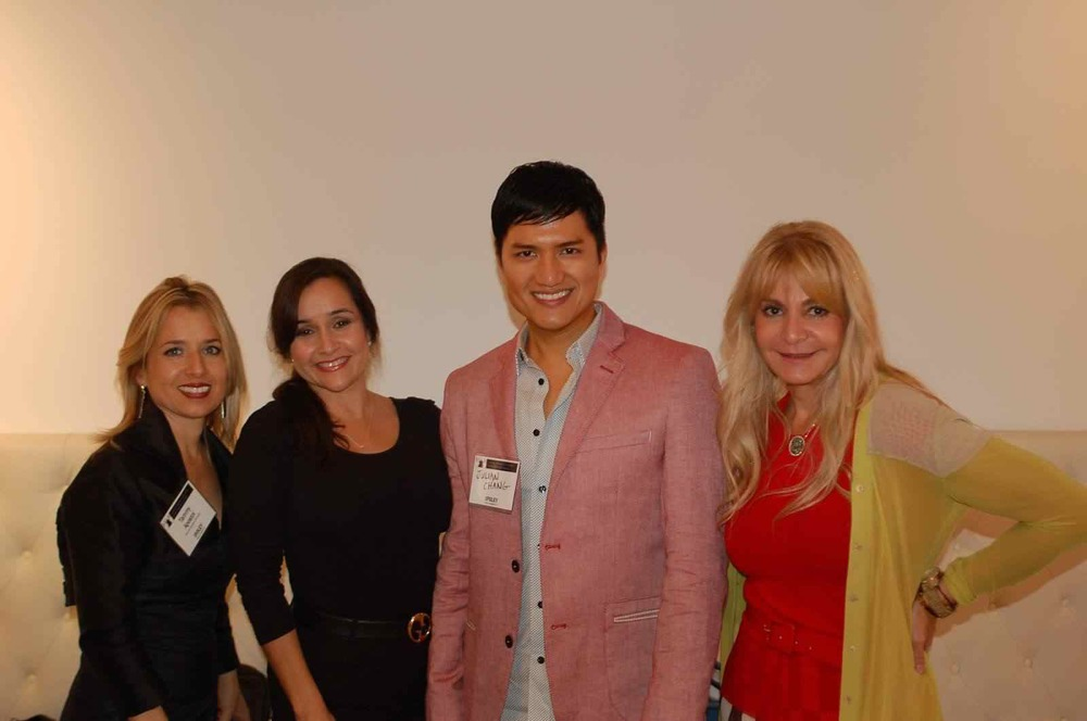 (from Left to right)   Ms. Tammy Apostol, Regional Director Elect, The Fashion Group International and Chief Executive of Tammy Apostol Couture,   Ms. Ivonne De La Vega, Designer, Mr. Julian Chang, Designer, and   Viviana Gabeiras, Designer/Vice President of Petit Pois