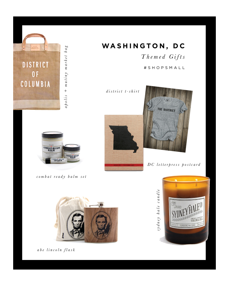 Sources: All products are available locally at Trohv Home or Salt & Sundry or online by these small businesses: Hammerpress State Postcard, Sydney Hale candle, Combat Ready Balm, District T, Mutiny Apolis Bag, Gordy's Pickle Jar,