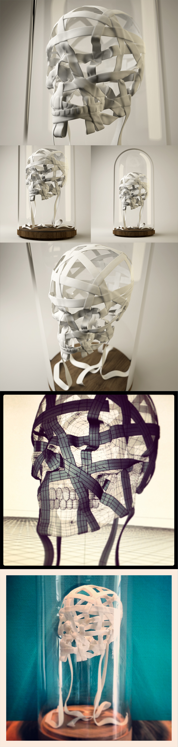 The Ribbon Skull    ☛ 3dPrinting Sculpture, wood and glass bell, 2011 ✰     Allegory of the bonds that links human and humanity together, the Ribbon  Skull, is a strong wish of a new peaceful era.    This Sculpture is  visible at the Galerie Matignon, 18 avenue Matignon, 75008 Paris   http://eroheduazac.com/the-ribbon-skull   Erohe  du Azac Ribbon Skull Crane Ruban Tree art sculpture design 3D Printing  laser life human anatomy  #Ribbon   #Skull   #Crane   #Ruban   #Tree   #art   #sculpture   #design   #3D   #Printing   #laser   #life   #human   #anatomy