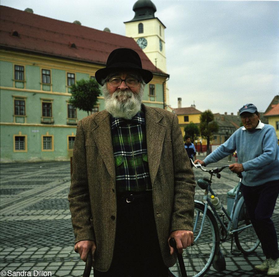 Old Man in Square, Romania