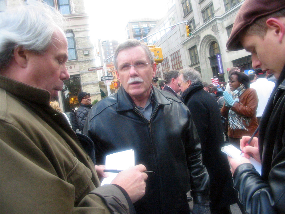 UAW President Ron Gettelfinger at NYU rally, New York CIty