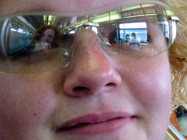You: My reflection in Jasmine's eyes. On the W Train, New York City