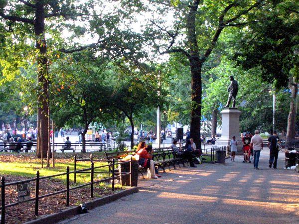 Sunset: Sunset in the Park Washington Square Park, New York City