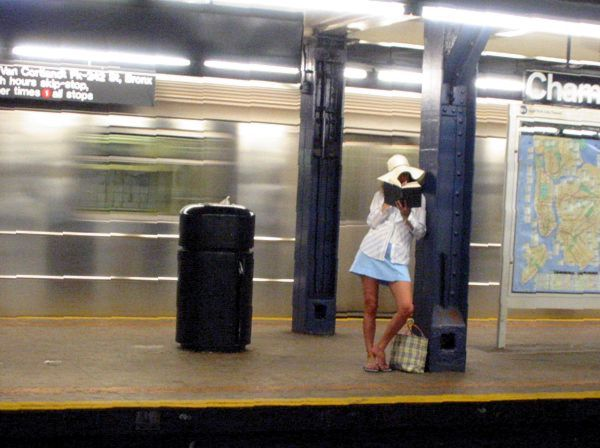 Transport: Waiting on a Train Chambers Street Subway Station, New York City