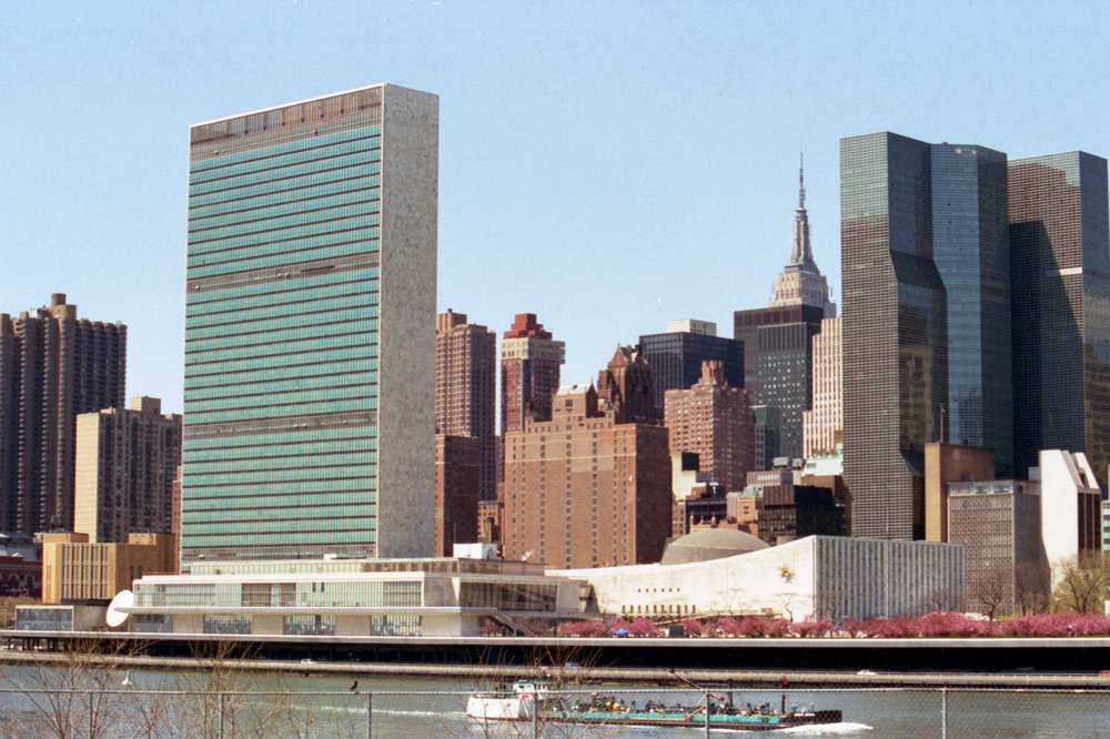 The United Nations shot from Roosevelt Island