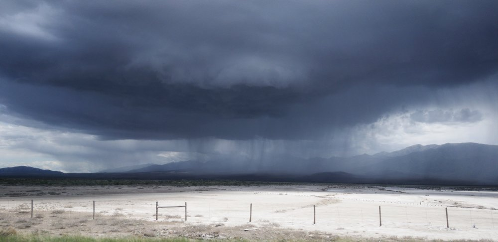 Storm over Bonneville Salt Flats, Utah