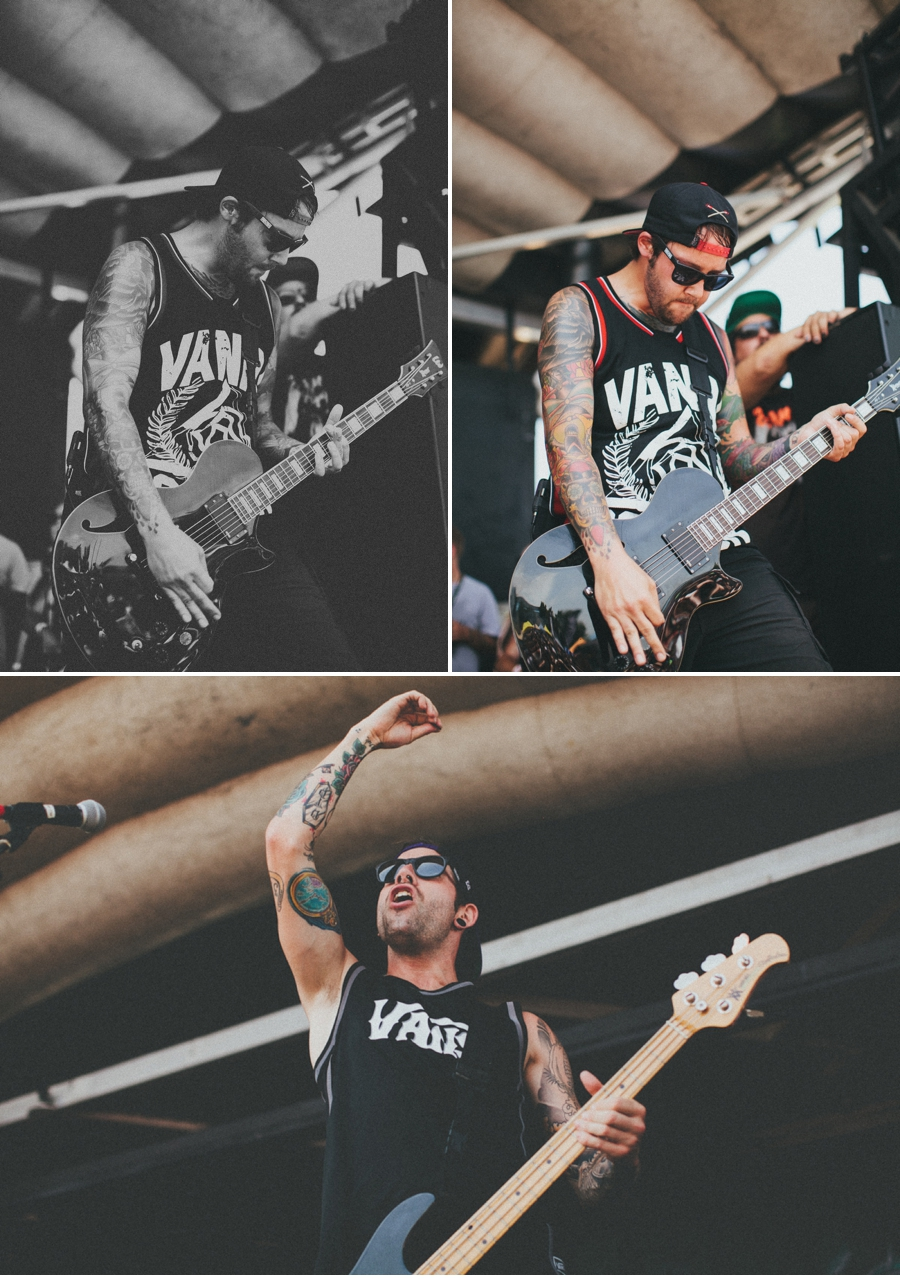 Bassist Jim Riley of LA metalcore band The Ghost Inside plays at Vans Warped Tour 2012 in Dallas, Texas.