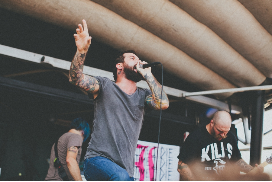 Keith Buckley of Every Time I Die plays on the Monster Energy Stage at Vans Warped Tour 2012 in Dallas, Texas