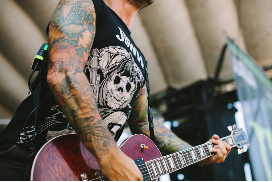 Jordan Buckley of Every Time I Die plays on the Monster Energy Stage at Vans Warped Tour 2012 in Dallas, Texas