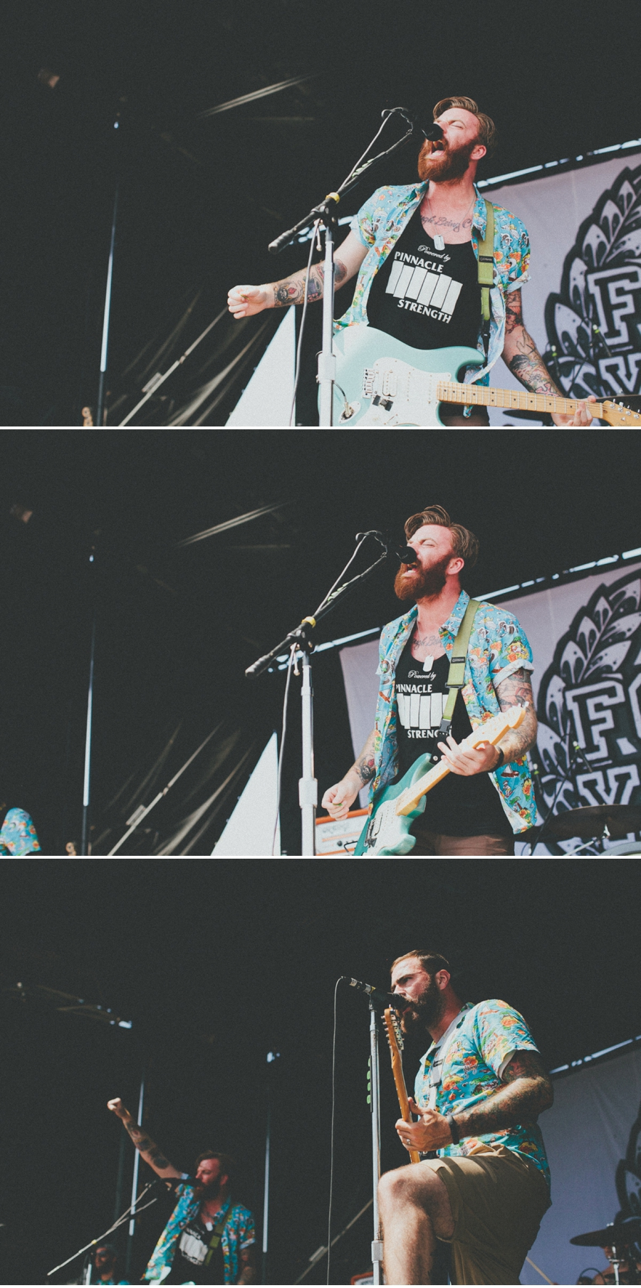 Alan Day and Dan O'Connor of Four Year Strong perform on the Kia Soul Stage at Vans Warped Tour 2012 in Dallas, Texas.