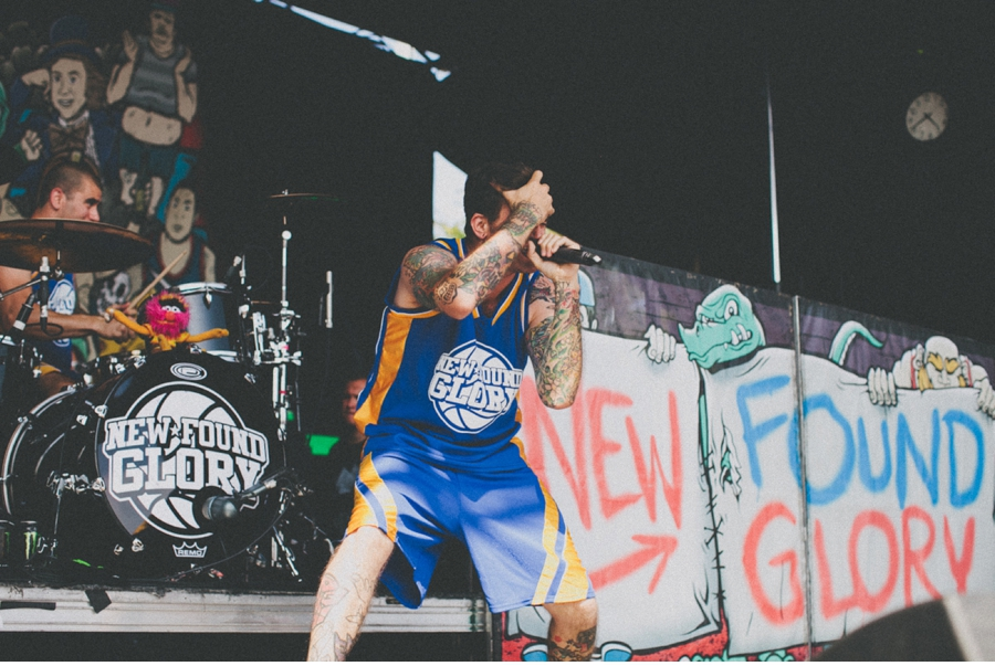 Jordan Pudnik of Florida pop-punk band New Found Glory performs on Vans Warped Tour 2012 in Dallas, Texas.