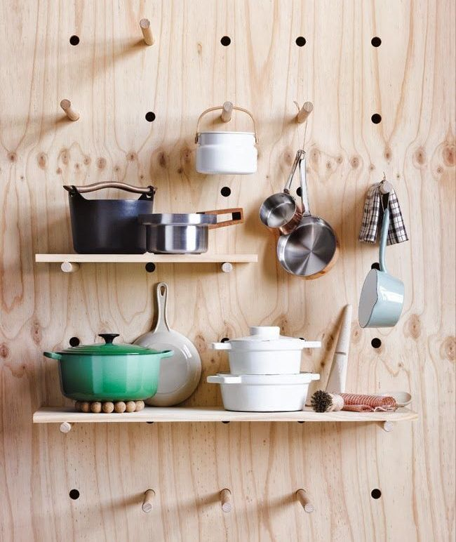 Plywood Pegboard Wall | Source Unknown