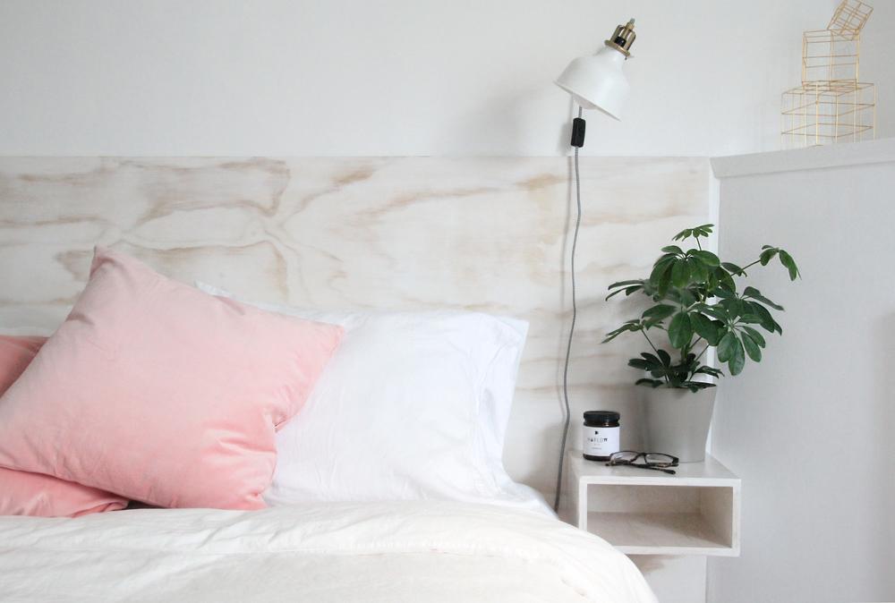 DIY Plywood Headboard + Floating Bedside Tables