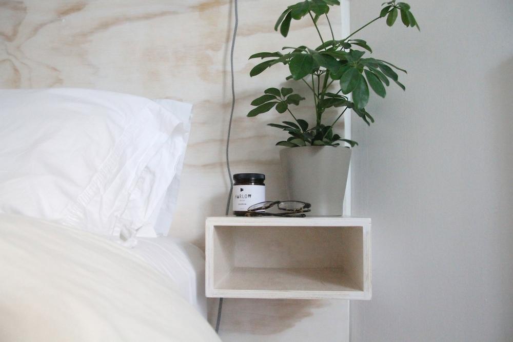 DIY Minimal Plywood Headboard Floating Bedside Table