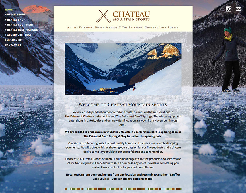 Website design for Chateau Mountain Sports.