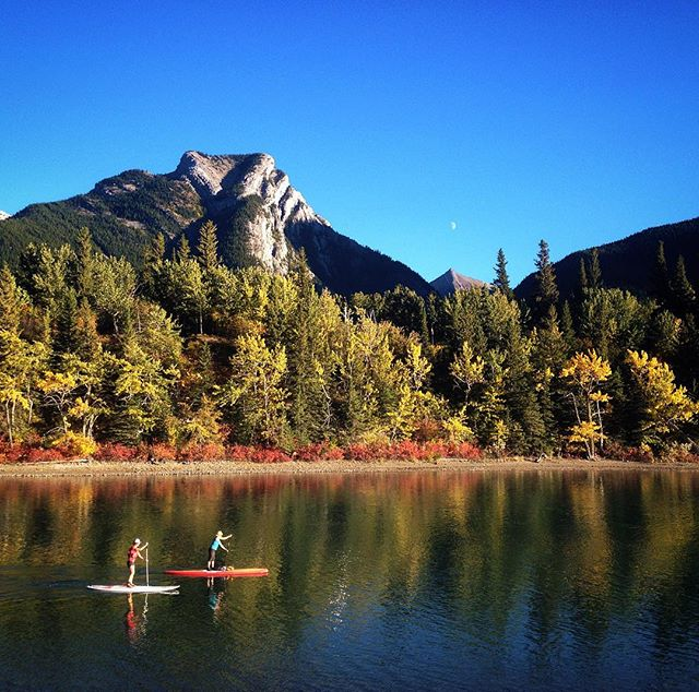 Heart Mountain, golden aspens, moon rising, Bow River SUP 🍂🍁💦