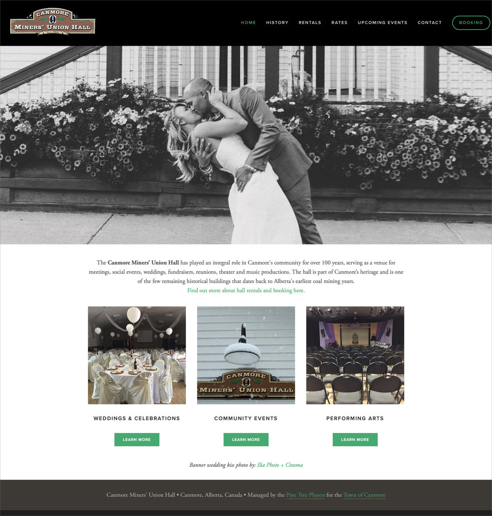 Website design for Canmore Miner's Union Hall, Canmore, Alberta.