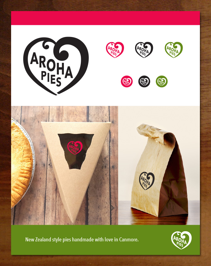Aroha Pies logo and branding