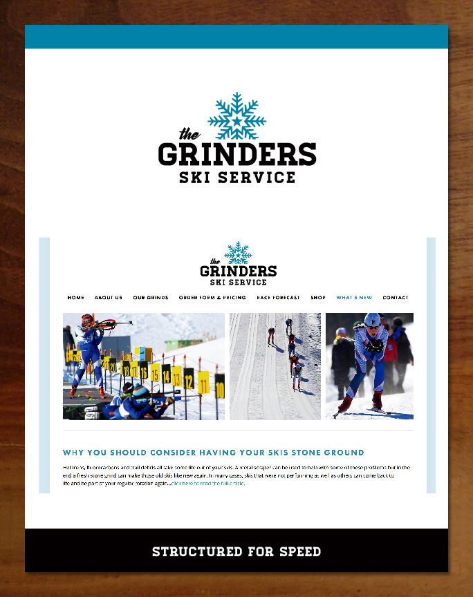 Grinders Ski Service logo, branding and website design