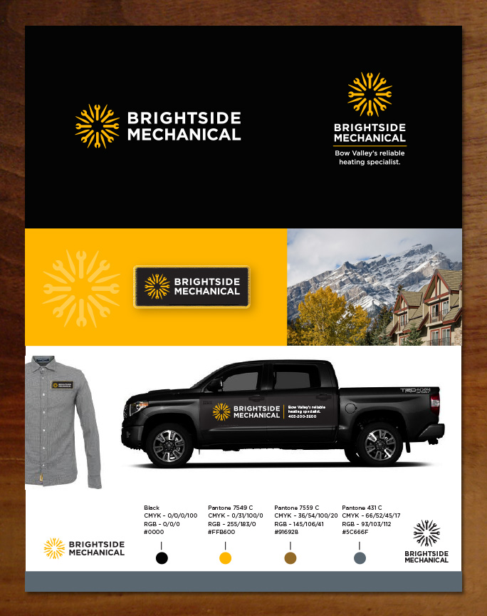 Brightside Mechanical logo, website design and branding