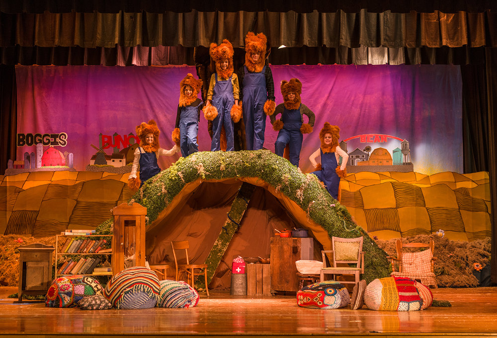 High School production of Fantastic Mr. Fox  With a very low budget and limited time to work on stage, I started with a concept drawing and then began painting the backgrounds. The following images show the steps I took to create the playful, fun world of Fantastic Mr. Fox.