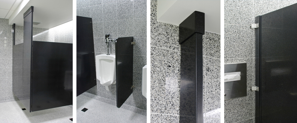 Toilet partitions sterling surfaces solid surface for Bathroom divider hardware