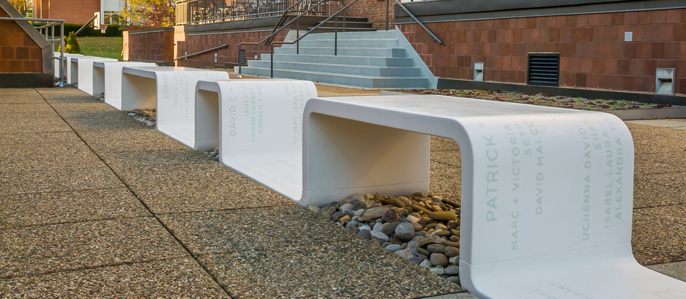 Corian Bench - Choate Rosemary Hall.  Design by Studio ABK. Fabrication by Sterling Surfaces. Photo by Jeff Baumgart.