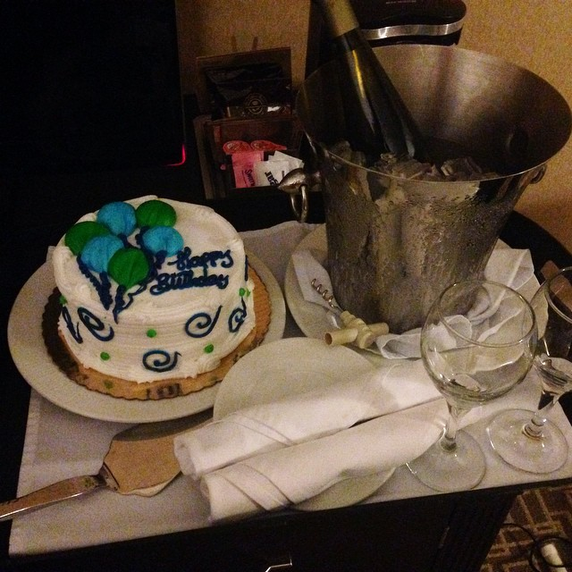 The Hilton, good company. #recommended #birthdaycake