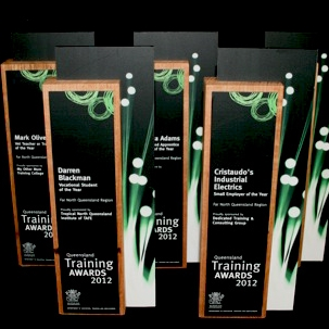 modern bamboo award trophy - eco sustainable