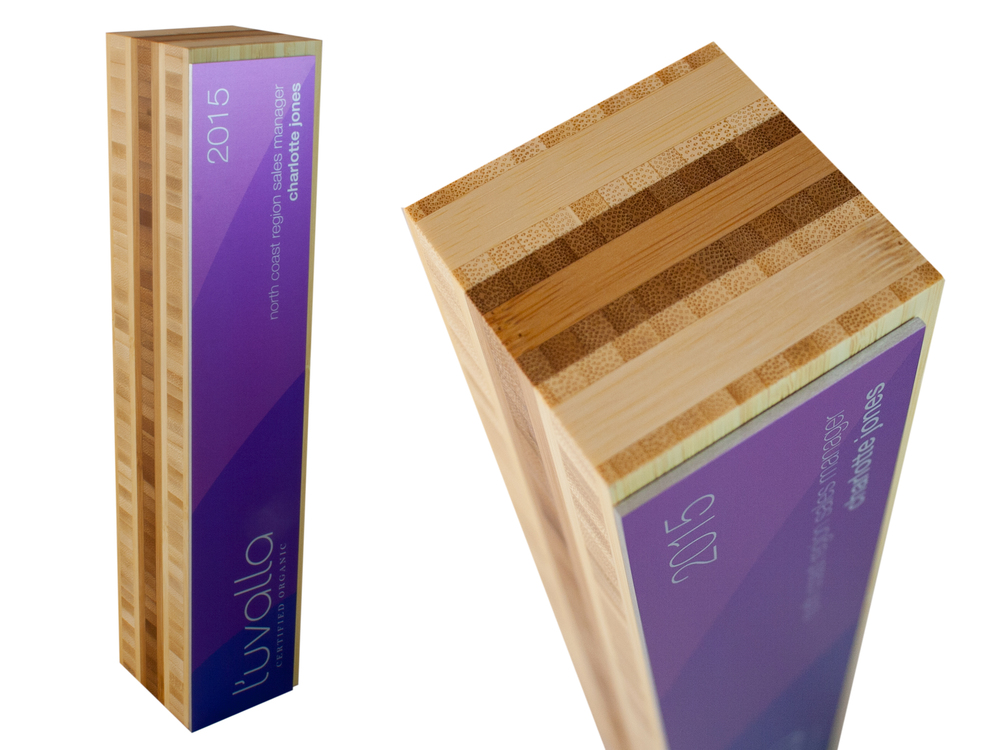 two-tone bamboo eco award not glass or acrylic high quality