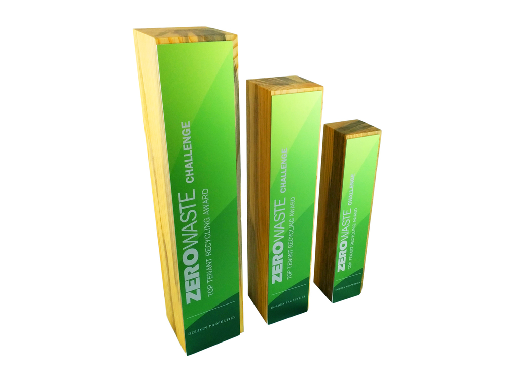 eco sustainable perpetual awards and trophies Pine Beetle Wood denim pine