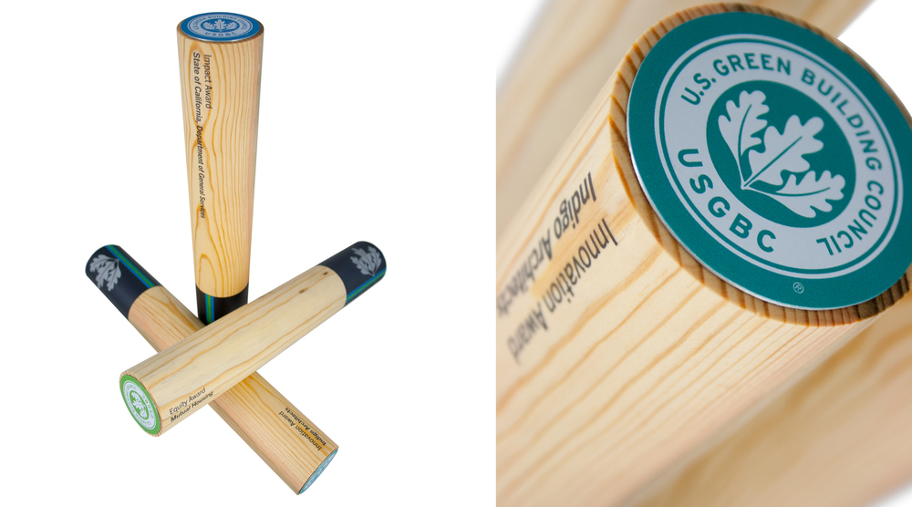 us green building council - pine beetle wood - eco friendly perpetual awards and trophies