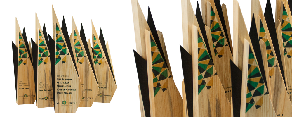recovered wood awards trophies unique design