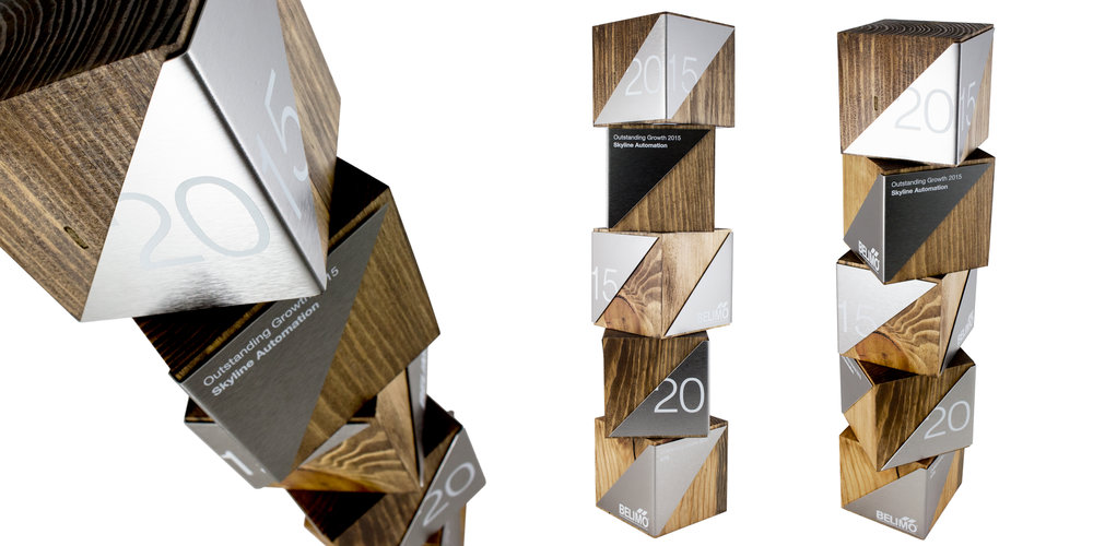 belimo - custom recovered wood cube awards