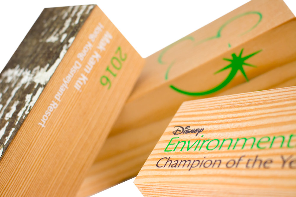 disney custom environmental awards recovered wood
