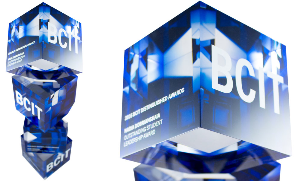 bcit - custom acrylic cube awards