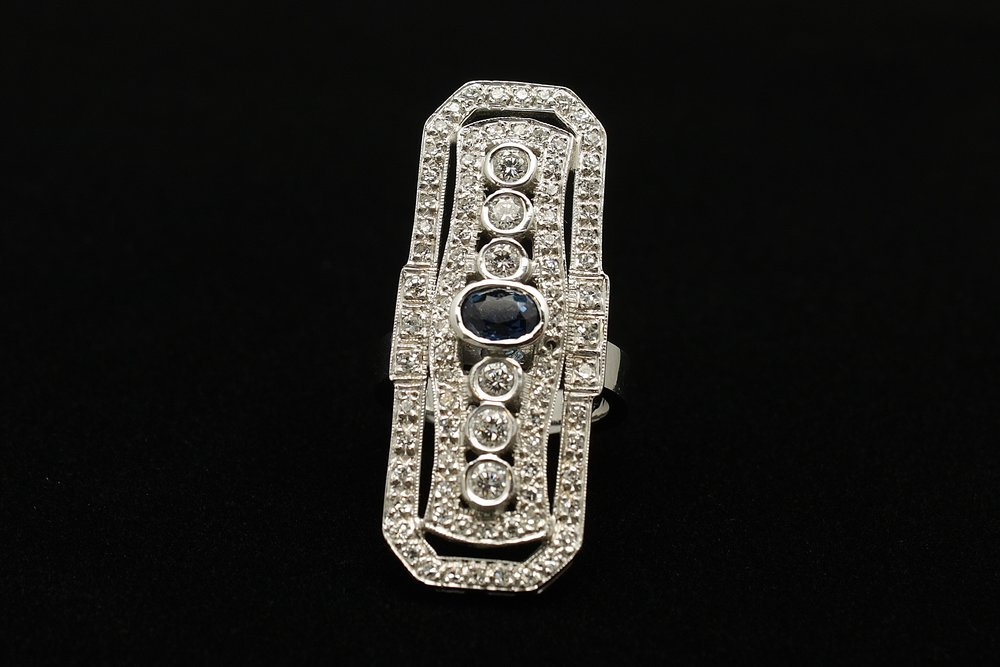 Vintage 14kt Diamond 2.35cts Sapphire 1ct Ring