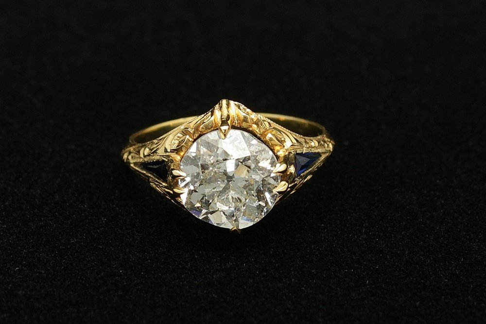 Antique 18kt Diamond Old Mine 2.75cts Sapphire .24cts