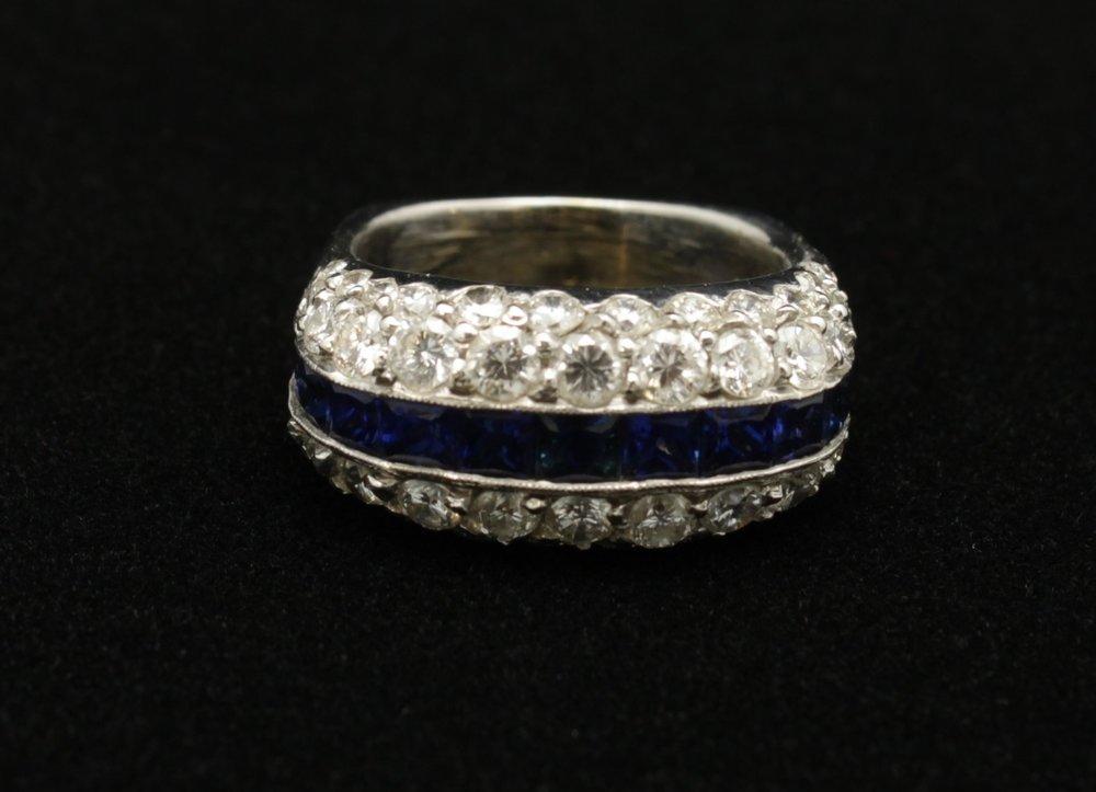 Vintage Platinum Diamond 3cts Sapphire 2.5cts Ring