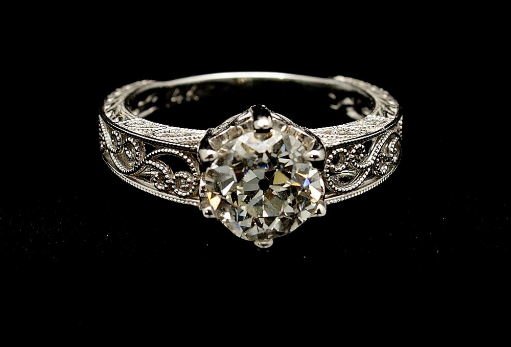 Antique 18kt Diamond Old European Cut Ring 1.67cts